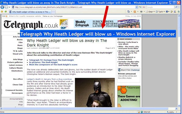 Why Heath ledger will blow us - unfortunate truncation of Telegraph headline in IE title bar