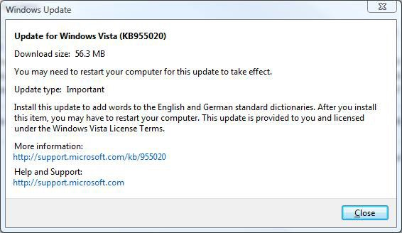 Vista update warning
