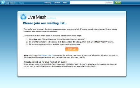 Live Mesh Hotmail sign up