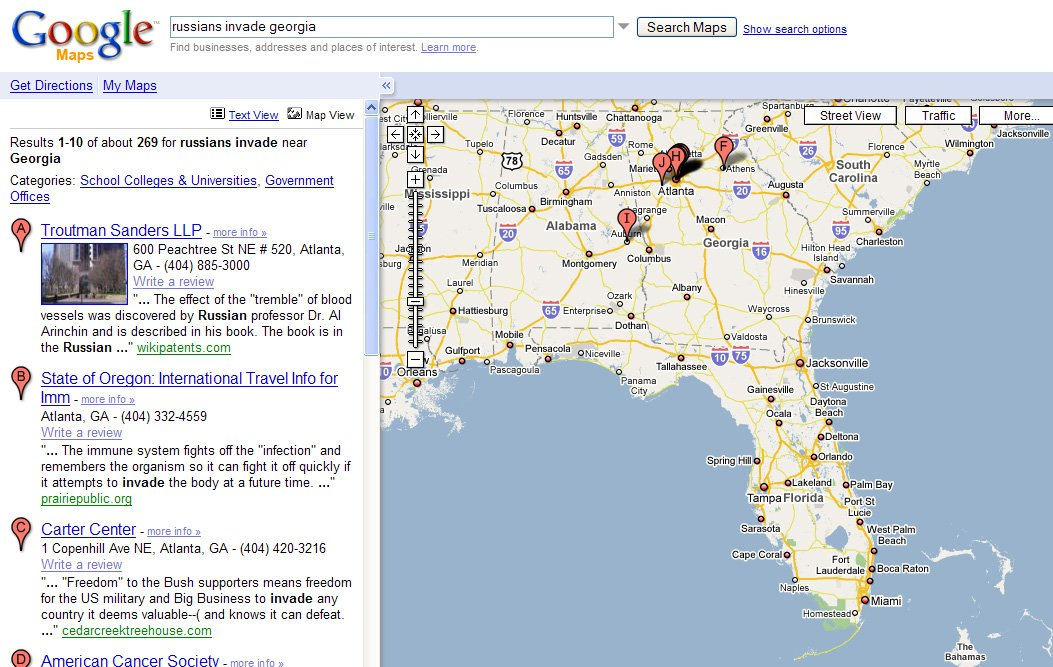 Google Map Of Georgia.Google Maps Russian Assault On Savannah The Register