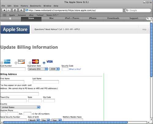 Screenshot of spoofed Apple page