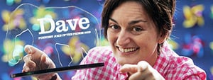 Zoe Lyons with her Dave funniest gag trophy