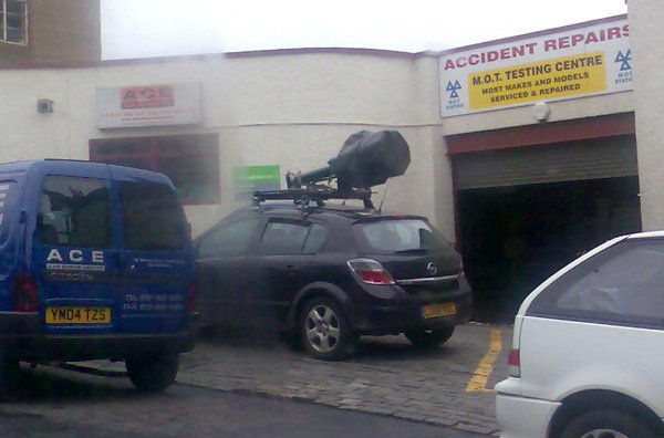 Street View spycar parked at Edinburgh garage