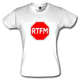The RTFM t-shirt in a women's fit