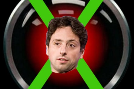 Google co-founder Sergey Brin in front of crossed out HAL 9000 eye