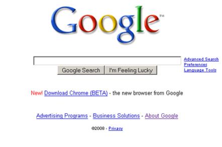 Chrome Home Page Ad