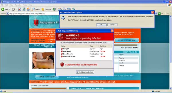 screenshot of malware site