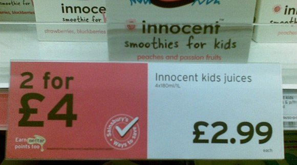 "Sainsbury's offer for ""Innocent kids juices"""