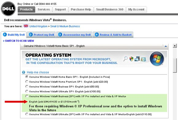 Dell website offers Windows XP option for £44,414