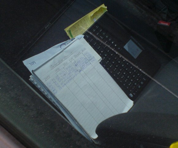 Street View Work Schedule, on front seat of Orwellian Opel