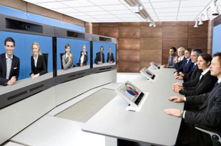Tandberg telepresence video-conferencing session