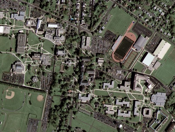 GeoEye-1 image of Kutztown University, Pennsylvania. Pic: GeoEye Satellite Image