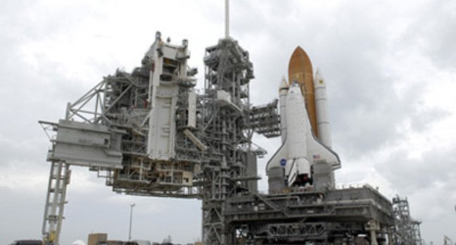Endeavour on the launch pad at the Kennedy Space Center. Pic: NASA