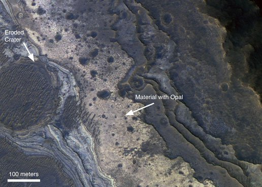 NASA orbital pic showing the Martian opal deposits
