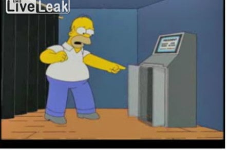 Homer Simpson confronts rigged voting machine