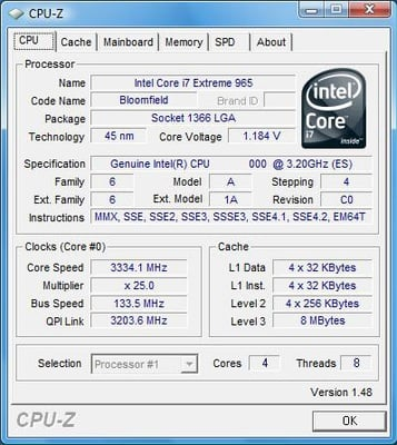 Intel Core i7 Extreme CPU-Z