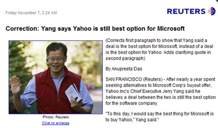 Reuters on Yang