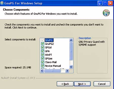 Gpg4Win install window