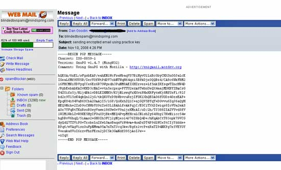 To a snoop without the private key, the same email looks like this