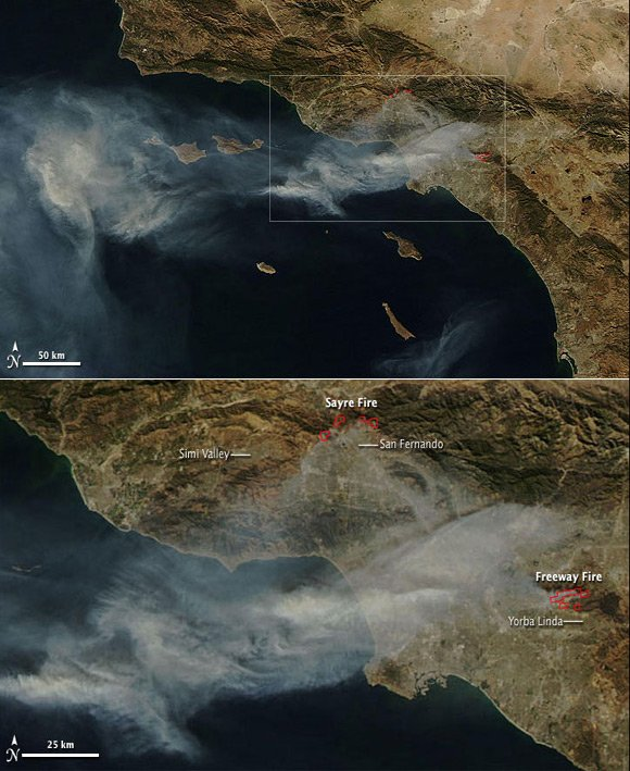 NASA satellite images of California wildfires