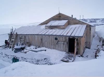 The Terra Nova expedition hut at Cape Evans on Ross Island, seen today