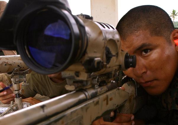 Sgt Gerald Hooee Jr of the US Marines on the range