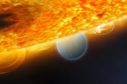 NASA art depicting the 'hot Jupiter' HD189733b in orbit round its parent orange dwarf