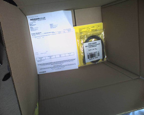 Courtesy of Amazon: One USB extension cable in a very big box