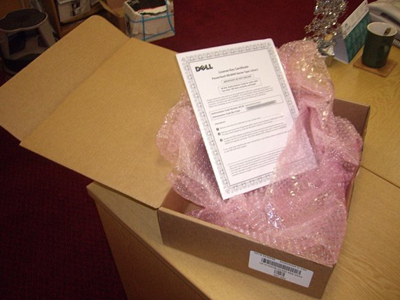 Courtesy of Dell: One sheet of A4 paper in bubblewrap inside big box