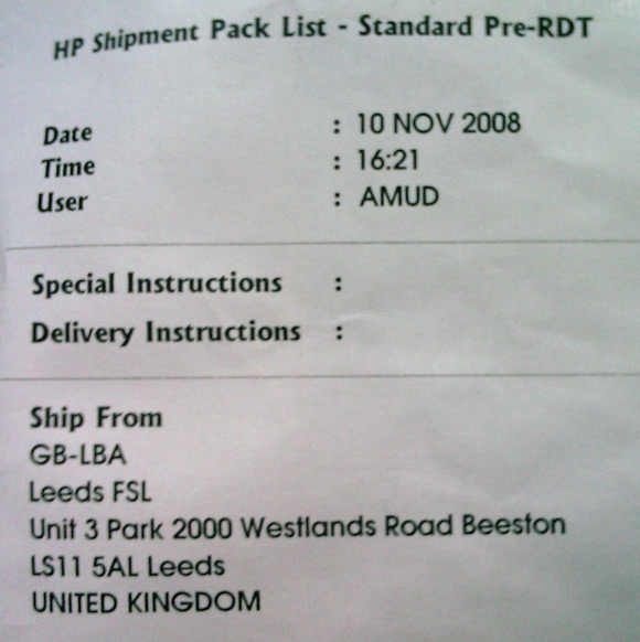 The delivery label for the first DIMM, showing it came from Leeds