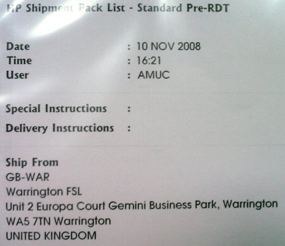 The delivery label for the second DIMM, showing it came from Warrington