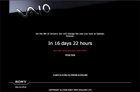 Sony Vaio teaser website