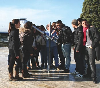 Group of students admiring the replica Galileo telescope. Pic: Francesco Palla