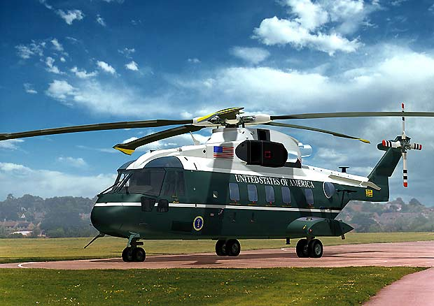 Corporate art of the new Marine One in presidential paintjob