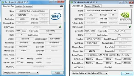 GPU-z: Intel and Nvdia on Intel