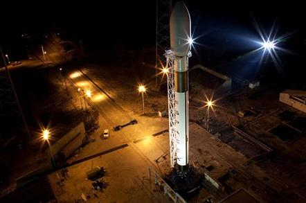 The Falcon 9 rocket, now erected on the pad at Cape Canaveral
