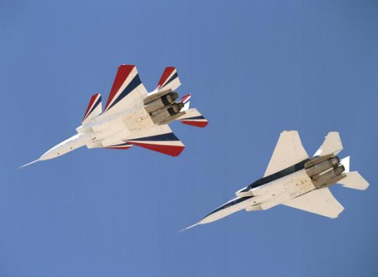 NASA's two F-15 test craft. Note the canards added to the left-hand jet.