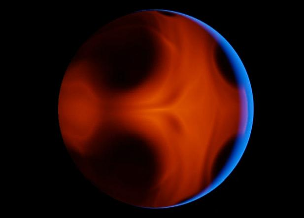 The blue is sunlight: the red is the planet's atmosphere glowing red-hot after periastron