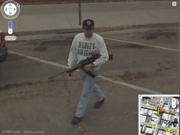 American with hunting rifle and liquor caught on Street View