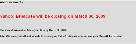 Yahoo! Briefcase Death