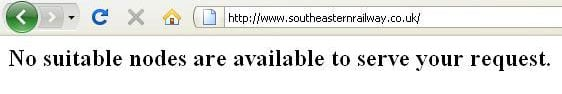 'No suitable nodes are available to service your request, says Southeastern Railway