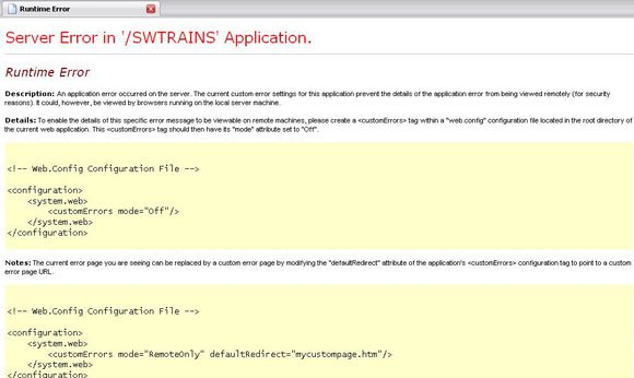Server error in '/SWTRAINS' Application