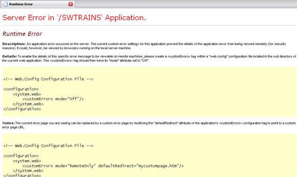Server error in '/SWTRAINS' Application