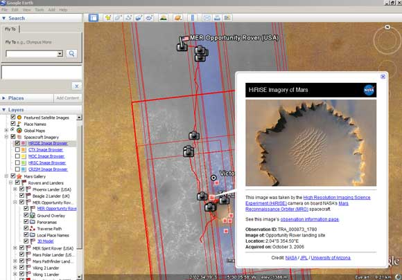 Mars on Google Earth showing HiRISE image