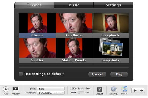 iPhoto '08 and '09 slideshow settings
