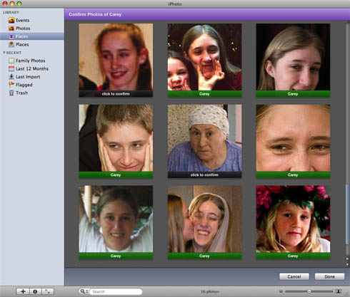 iPhoto '09 Faces - bad choice