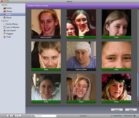 iPhoto '09 Faces - bad choice