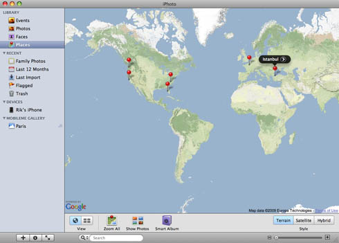 iPhoto '09 Places world map