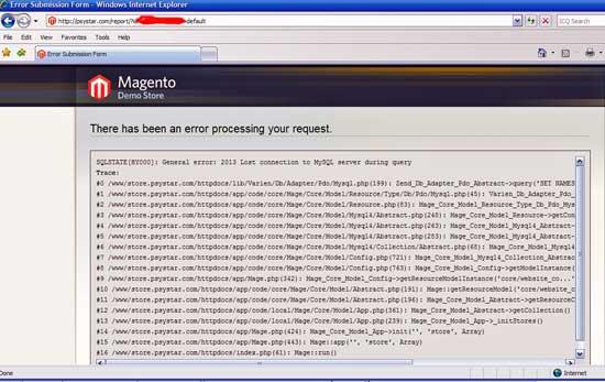 Screenshot of error page from Psystar