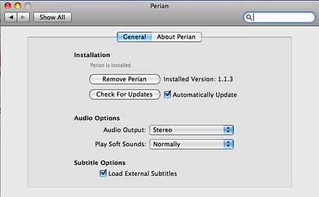Perian Mac OS X Prefs Panel